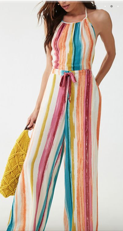 Abstract Striped Jumpsuit