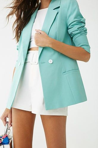 Forever21 Vero Moda Double-Breasted Blazer in Mint