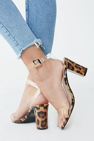 Forever21 Translucent Strap Leopard Print Heels-Stylish Leopard Heels, Young and Stylish Shoes