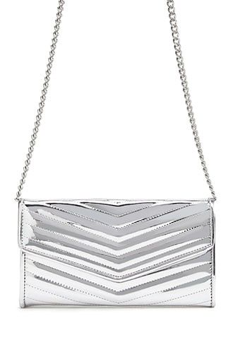 Forever21 Metallic Chevron Quilted Bag-Silver Bag, Cross Body purse