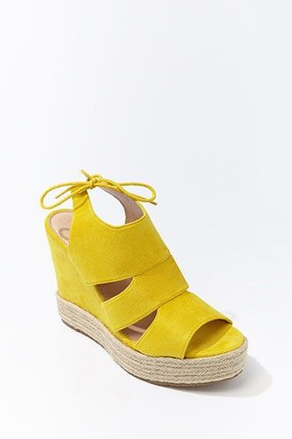 Forever21 Faux Suede Cutout Espadrille Wedges-Forever21 Womens Sandals, Wedges, Yellow, Summer Sandals, Womens Summer Sandals