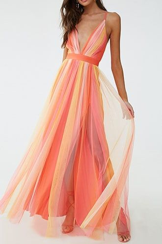 Forever21 Ombre Mesh Prom Gown-Ombre Dress, Orange, Yellow, Flowy,  Summery, Trendy, Stylish, Maxi Dress, Resort, Beach