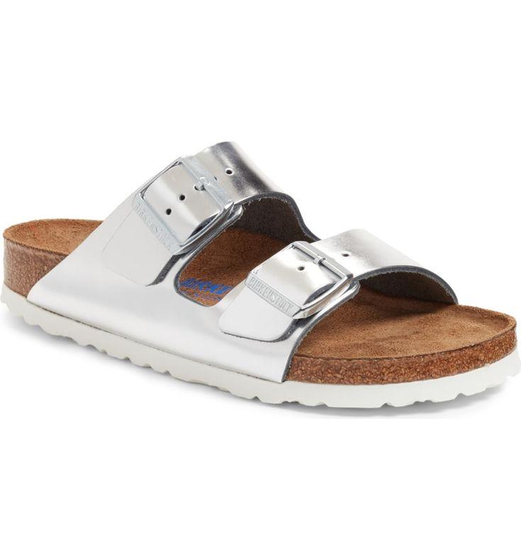 BIRKENSTOCK Arizona Soft Footbed Sandal, Main, color, METALLIC SILVER LEATHER-Birkenstock Nordstrom, Shop Nordstrom