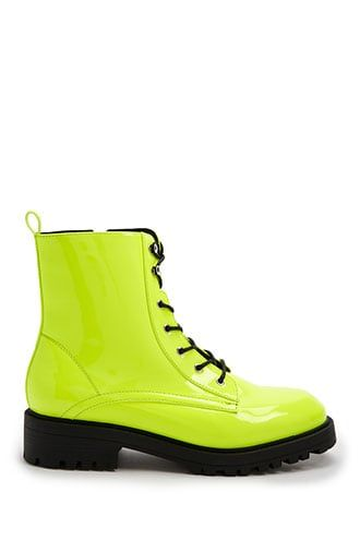 Forever21 Faux Patent Leather Neon Boots-