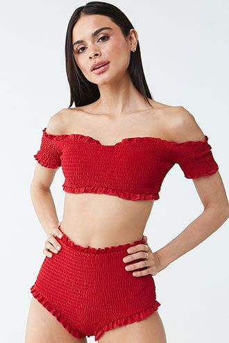 Forever21 Tee Ink High-Waist Bikini Bottoms-Red Ruffle Bikini Bottoms, Trendy Stylish Bikini Swimsuit