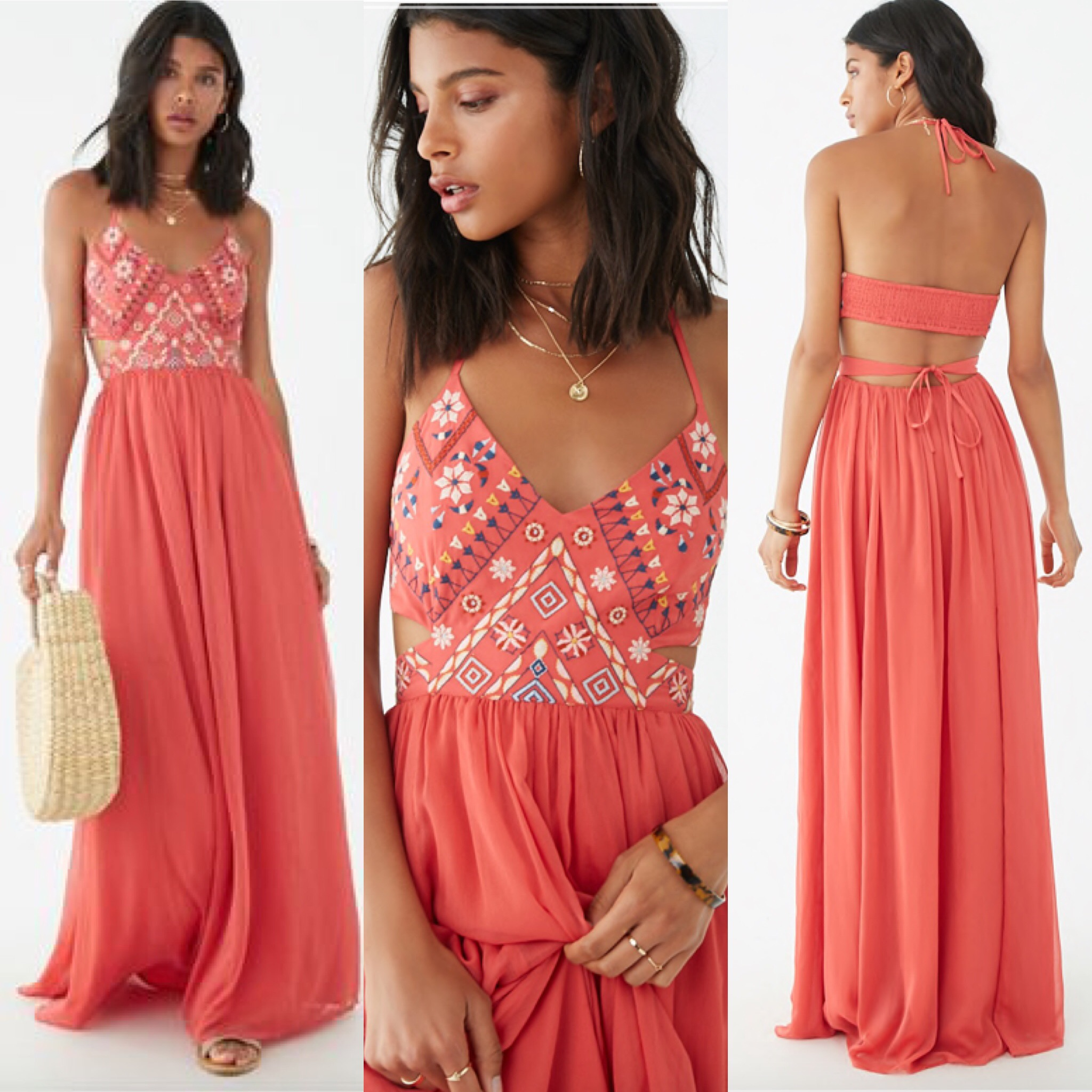 Geo-Embroidered Billowy Halter Dress-Halter Dress, Beach Dress, Resortstyle, peach dress, Embroidered dress,