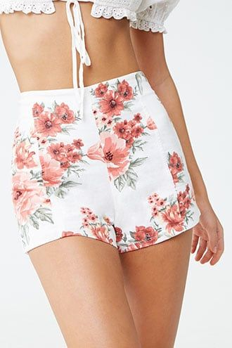 Forever21 Floral Print Shorts-Stylish Shorts, Forever21, Forever21 shorts, floral shorts, vintage flower shorts