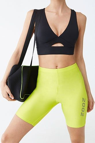 Forever21 Low Impact - Cutout Sports Bra-Trendy Exercise Wear, Stylish Exercise Wear, Neon Workout Clothes, Criss Cross Workout Top