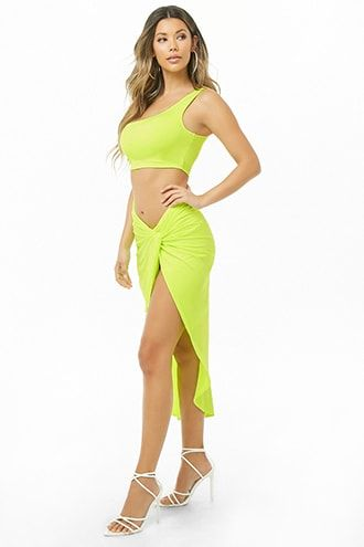 Forever21 One-Shoulder Crop Top & Twist-Front Skirt Set-Trendy Crop Top with Max Skirt, Trendy Fashion